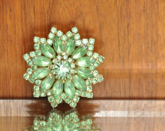 Vintage Large Emerald Green Rhinestone Brooch Lime Green Costume Jewelry Pin