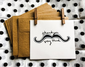Thank You Very Much Mustache Cards: Pack of 6
