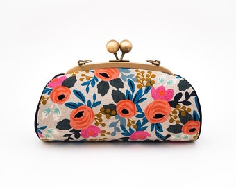 Rosa Floral Clutch Purse with Strap, Bridesmaid Clutch, Kiss Lock Frame Clutch, Evening Clutch, Riffle Paper Co Les Fleurs, Japanese Fabric