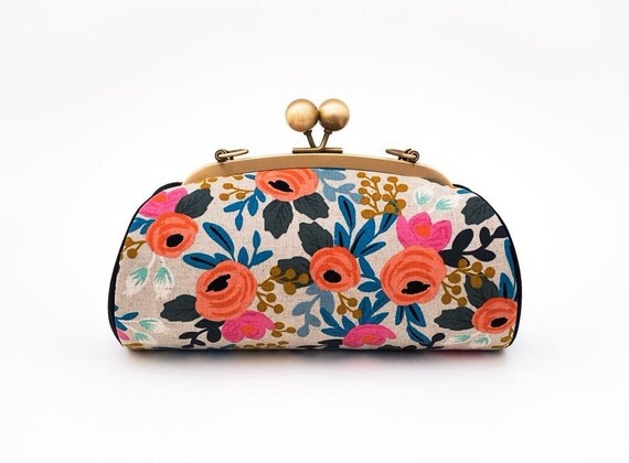 Floral Clutch with Strap, Bridesmaid Clutch Purse, Kiss lock Clasp Purse, Evening Bag, Handbag, Riffle Paper Co Les Fleurs, Wedding Gift
