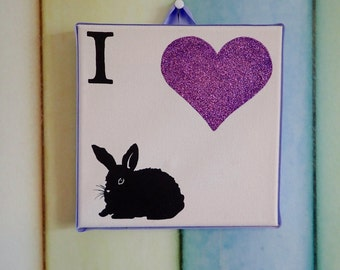 I Love Rabbits canvas