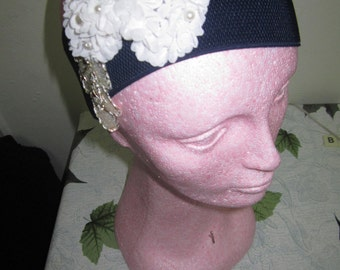 Blue white and gold easy to wear headband