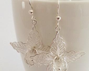 Beautiful Sterling Silver Earrings White Orchids, Filigree Earrings, Handmade in Spain, Flower Design Earrings, Orchid Earrings, Gift Idea