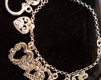 Silver .925 Chain Silver Tone Heart charm Bracelet