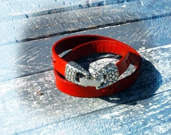 Lleather wrap cuff,  Red leather wrist band, Silver tone snake design closure, Gift for her