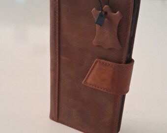 Genuine leather Samsung Note 4 Bookcase Magnet Close Flip Cover Folio Case Book Case Wallet Case Brown