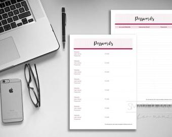 Password printable log. Password list for planner, 2 designs. A4 Size, Portrait. Instant download. PDF & JPEG format. High resolution 300dpi