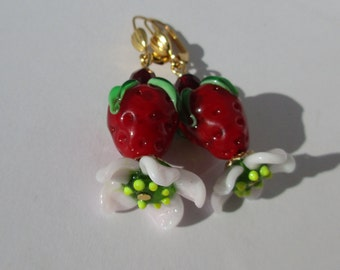 Summer Strawberry Glass Earrings