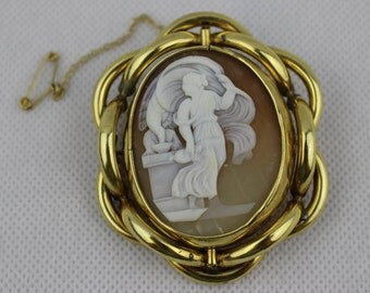 Victorian Cameo Brooch in set in Pinchbeck, Cameo features Hebe Feeding Zeus, Fabulous Quality Brooch, Unusual Swivel Back, Large Cameo, UK.