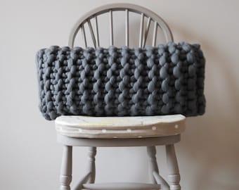 Chunky knit dark grey rectangular knitted cushion - knitted oblong grey cushion - knitted Throw pillow - Scandinavian modern - Throw cushion