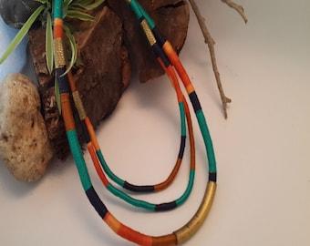Bohemian colorful necklace, Bohemian fashion necklace, Tribal rope necklace,  Tribal statement necklace
