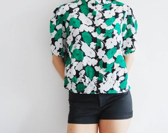 Vintage 80s Green and White Floral Blouse - UK 14/16