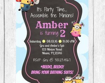 Minion Birthday Invitation, Girl Minion Invite, Boy Minion Invite, Birthday Invitation, Minion Party, Printable
