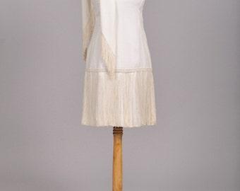 1970 Silk Fringe Vintage Wedding Dress