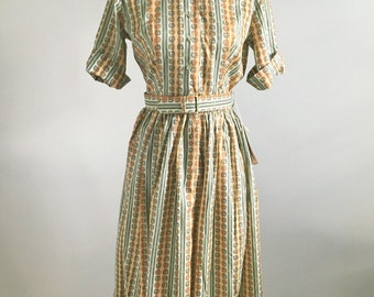 Vintage DEADSTOCK 50s Cotton Day Dress by Pat Perkins