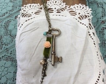 Skeleton Key Necklace, Antique Key, Vintage Key, Skeleton Key Jewelry