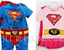 Superman and Supergirl Inspired Baby Costumes-Baby Superhero Costume-Twins Superhero Outfits