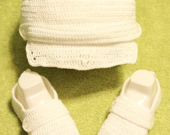 Handmade Baby Boy White Newsboy Cap and Coordinating Booties-Size 6-12 Months