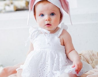 Bunny Ears Bonnet, Easter Bunny Hat, Bunny Ears Hat, White Baby Bunny Bonnet, White Linen Bonnet, Toddler Bunny Hat, Halloween Bunny Hat