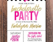 Bachelorette Party invitation with polka dots and Kate Spade inspired glitter accents | black and pink bachelorette bash party invitation
