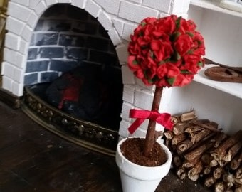 ROSE TREE RED in pot, miniature 1:12, dollhouse, topiary, tree, flowershop decoration