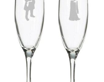 Firefly Mal & Inara Serra wedding champagne flutes, toasting glasses, nerdy geeky wedding gift, Firefly TV show, Nathan Fillion, Serenity