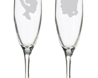 Frankenstein & Bride wedding champagne flutes, toasting glasses, nerdy geeky wedding gift, Horror theme, Boris Karloff, Halloween wedding