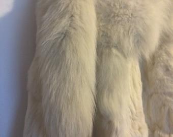 Genuine Vintage White Fox Fur Cape
