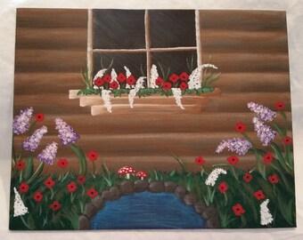 8x10 Secret Window Painting on Canvas Board
