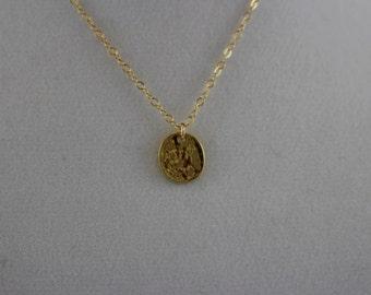 14K Gold Fill Hammered Disk Necklace BP4059