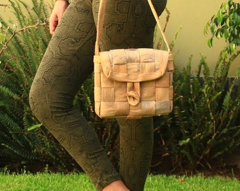 Handmade Jungle Raw Wood Bark Palm Tree Organic Vegan Woven Peruvian Tribal Eco Bag