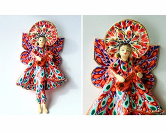 Handmade Peruvian Musician Angels made of Paper Colorful Altar Pieces Visionary Art Shaman Ceramic Novelty
