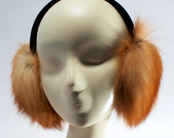 Recycled fox fur ear muffs / Recycled red fox fur earmuff