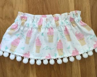 Baby Girl Ice Cream Skirt-Toddler Ice Cream Skirt-Baby Summer Skirt-Baby Elastic Skirt-Pink Mint White-Ice Cream Cone Outfit