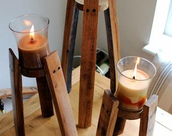 Oak Scotch Whisky Barrel stave candle stands