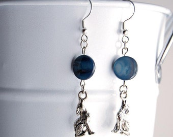 Full Moon Howling Wolf Earrings - Teen Wolf Inspired in Blue or White