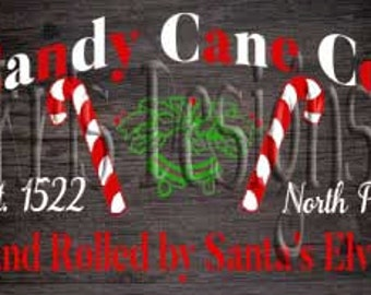 Candy Cane Co. Hand rolled by Santa's elves SVG PNG JPG