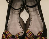 Zig Zag Halloween shoe bows shoe accessories with black buttons and purple tassels