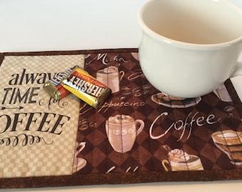 Coffee Mug Rug, snack mat.