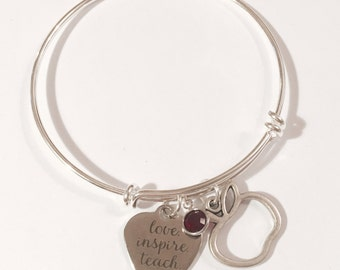 love, inspire, teach... adjustable bangle