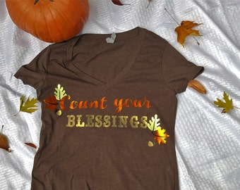 Count your blessings women's v neck tee