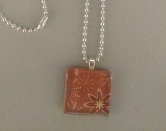 SALE - Flower Glass Tile Necklace
