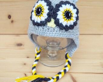 Crochet baby hat, Owl hat, Baby photo prop, Baby hat, Baby boy, Baby props