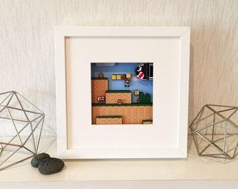 "Super Mario World - 3D Hand Crafted Shadow Box Art - Framed 10""x10"""