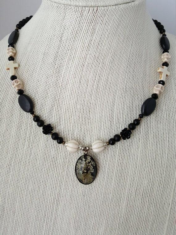 Black Victorian Goth necklace with coffin keepsake jewelry box