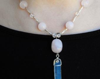 Quartz Crystal and Rose Quartz Pendant Necklace, Reiki, Meditation, Spiritual