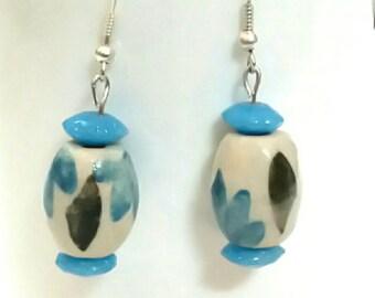Blue porcelain earrings, sky blue porcelain earrings, ceramic earrings