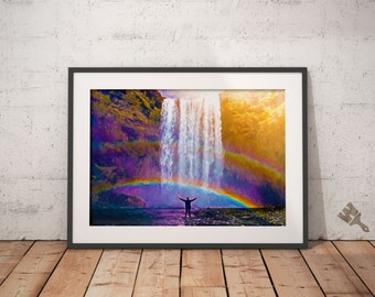 Iceland Waterfall Painting Print, Skogarfoss painting, Iceland wall art, rainbow painting, inspirational art, natural beauty, Iceland print