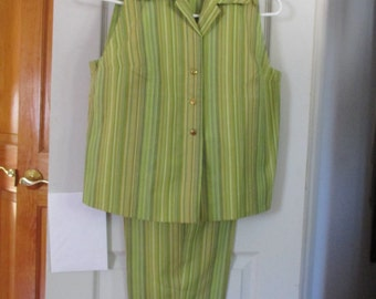 Vintage Campus Casuals of California Summer Pants  Top Set S Green Stripe