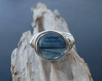 Ocean Blue Kyanite Gemstone Ring, Your Size Made-To-Order, This Ring Ready-To-Ship in Size 7, Silver-filled Wire Wrapped Ring